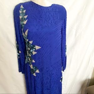 Dresses & Skirts - Vintage blue silk and fully beaded formal dress